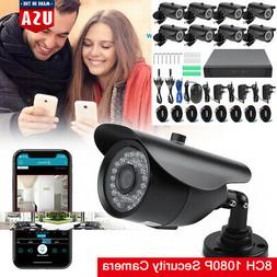 1080P Security Camera System 8CH DVR with 8 Wifi IP Surveill