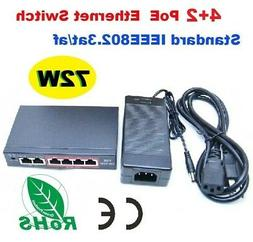 4+2 Port IEEE802.3af 90W Poe Switch Power Adapter For  Netwo