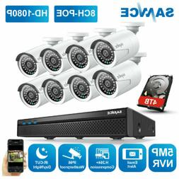 SANNCE 8CH 5MP NVR Outdoor 1080P POE Security IP Camera Syst