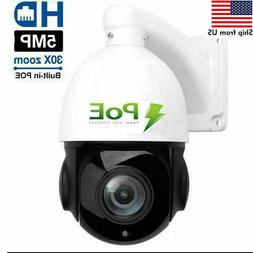 Built-in POE PTZ IP Camera 5MP HD 2592x1944 Pan/Tilt 30x Zoo