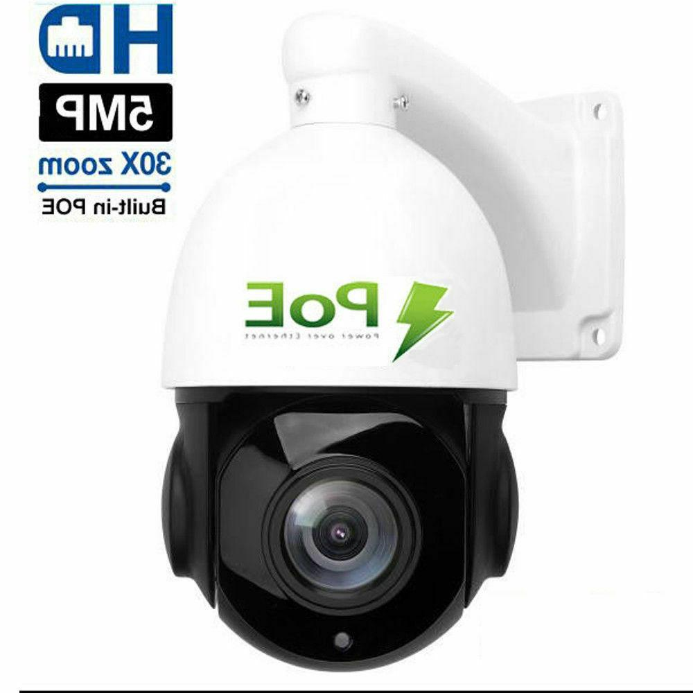 POE PTZ IP Camera 5MP Super HD 2592x1944 Pan/Tilt 30x Zoom S