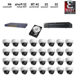 NVR Kit: 32Ch NVR+24TB HDD+4K Dome IP Camera+POE Switches **