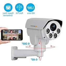 Poe Security IP Camera, Jennov HD 5MP  IP PTZ Security Camer